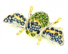 Superb Sapphire Chrome Diopside Bee Brooch 14kt Gold over .925 Sterling Sil