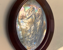 Mother of Pearl Angel Carved Cameo Shell in Agate 105.00cts