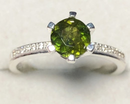 Natural Green Sphene Full Luster 925 Silver Ring From Badakhshan Afghanista