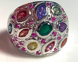 Outstanding Ruby Tanzanite Gold and Silver Ring Size 7 No Reserve