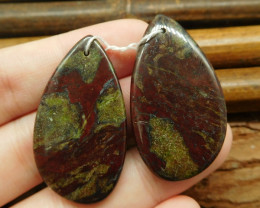 Dragon bloodstone earring beads (G0854)