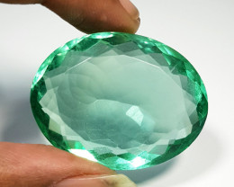 "140.25 ct "" Top Quality"" Oval Cut Natural Emerald Green Fluorite"