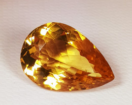 "8.25 ct "" Top Grade Gem "" Stunning Pear Cut Top Luster Citrine"