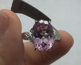 Brilliant $1700 Nat 7.43ct Pink Topaz and diamond Ring 10K YG