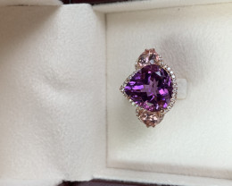 No heat Heirloom Amethyst and tourmaline ring