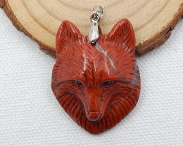 51cts Hand Carved Wolf Pendant ,Red River Jasper Wolf ,Wolf Head Pendant D6