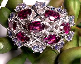 A stunning Tanzanite Rhodolite Ring Size 7.5 Sterling Silver & Gold