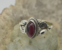 GARNET RING 925 STERLING SILVER NATURAL GEMSTONE JE2282