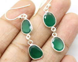 GREEN ONYX EARRINGS 925 STERLING SILVER NATURAL GEMSTONE JE2289