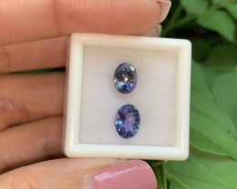 2.62 Tanzanite Oval pair Amazing Lustre