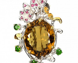 Cognac Citrine Brooch Pendant 14kt Gold over Sterling Silver