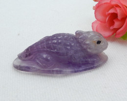 138ct Natural Amethyst Handcarved Horned lizard Necklace Pendant Bead D521