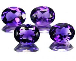 6.72 Cts Natural Purple Amethyst 9x7 mm Oval Cut 4 Pcs Brazil