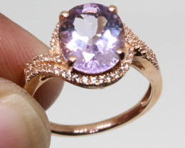 ( LBA) Stunning 3.68 ct AAA Natural Amethyst and sapphitre Ring 10k Gold