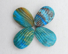 4pcs Beautiful Carved Shell Cabochons,Handmade Blue Opal Shell ,Shell Earri