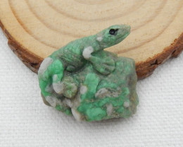 30.5Cts Natural Turquoise Gemstone Lizard Carving D475