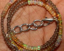 16 Crt Natural Ethiopian Welo Opal & Smokey Beads Necklace 9