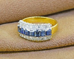 Natural Blue Sapphire & Diamond SOLID 18kt Gold Ring Size 5.5