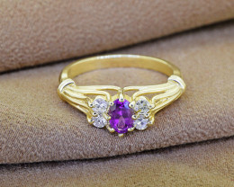 Natural Amethyst & Diamond 14kt SOLID GOLD Ring Size 6.5