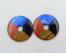 2pcs tiger eyes,lapis lazuli,red river jasper,obsidian earring pair D470