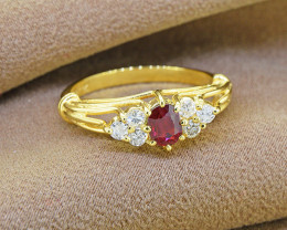 Natural Ruby & Diamond 14kt SOLID Gold Ring Size 7.5
