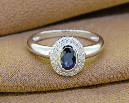 Natural Blue Sapphire & Diamond 18kt SOLID GOLD Ring Size 6