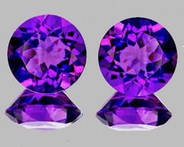 8.00 mm Round 2 pcs 3.80cts Purple Amethyst [VVS]