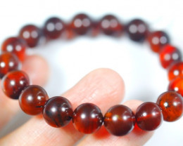 70.0Ct Natural Blood Amber  Round Beads Bracelet