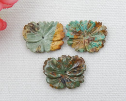 3pcs Carved turquoise pendant beads , natural turquoise, flower pendant , b