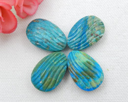 4pcs Beautiful Carved Shell Cabochons,Handmade Blue Opal Shell ,Shell Caboc
