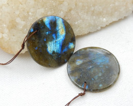 101cts Natural Labradorite Drilled Earrings Bead, stone for earrings making