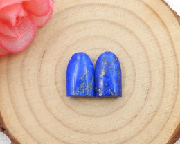 10.5cts 2pcs Tiny lapis lazuli cabochon pair tiny beads lapis lazuli caboch