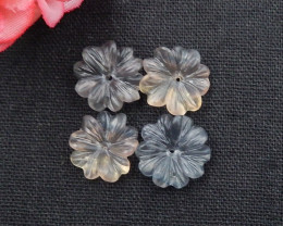 31cts Flower Earrings,Natural Fluorite Handcarved Flower Earring Matching P