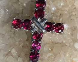 A beautiful Rhodolite Garnet Cross - .925 Sterling Silver Shimmering piece