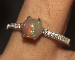 Natural Ethiopian Welo Opal 925 Silver Ring Size (7.5 US) 103