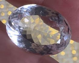 ⭐23.53ct Rock Crystal White Quartz Facet Oval No reserve