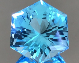 Pretty is this 19.80 ct Hexagonal Cut Swiss Blue Topaz   AK1901