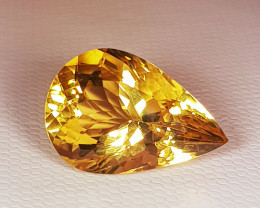"10.90 ct "" Top Grade Gem "" Stunning Pear Cut Top Luster Citrine"