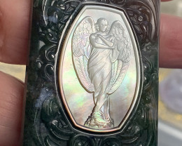 Mother of Pearl Angel Carved Cameo Shell in Moss Agate 205.00cts