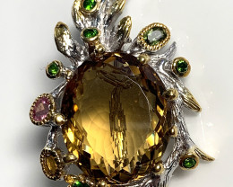 Artisan Citrine Tourmaline Pendant Brooch 14kt Gold over Sterling Silver