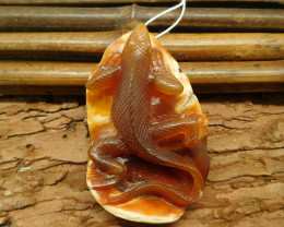 Red agate carved lizard pendant jewelry (G0914)