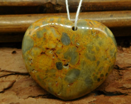 Heart shape crazy lace agate pendant bead (G0927)