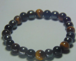 Tiger Eye, Hematite, Black Onyx Stone Bracelet 8mm