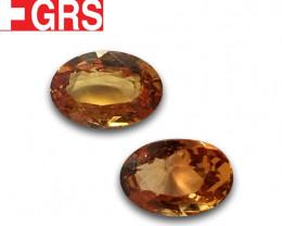 Natural GRS Unheated Padparadsha Pair |Loose Gemstone|New| Sri Lanka