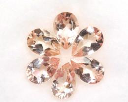 3.72 Cts Natural Peach Pink Morganite 7x5mm Pear Cut 6 Pcs Brazil