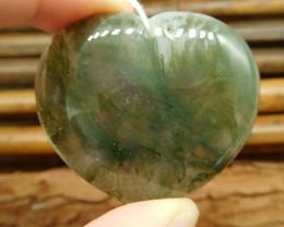 Heart shape moss agate pendant bead (G0938)