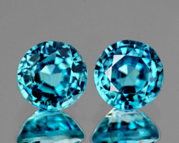 6.00 mm Round 2 pcs 2.61cts Blue Zircon [VVS]