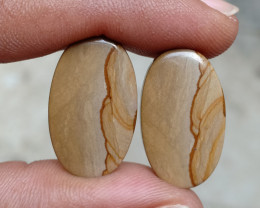COFFEE JASPER PAIR Natural Gemstone VA1364