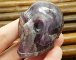 Natural gemstone amethyst carved skull decoration (G0946)