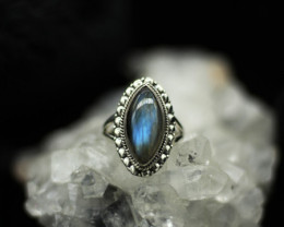 LABRADORITE  RING 925 STERLING SILVER NATURAL GEMSTONE JE2302